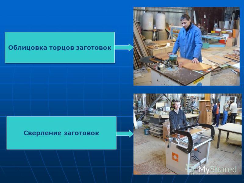 Облицовка торцов заготовок Сверление заготовок