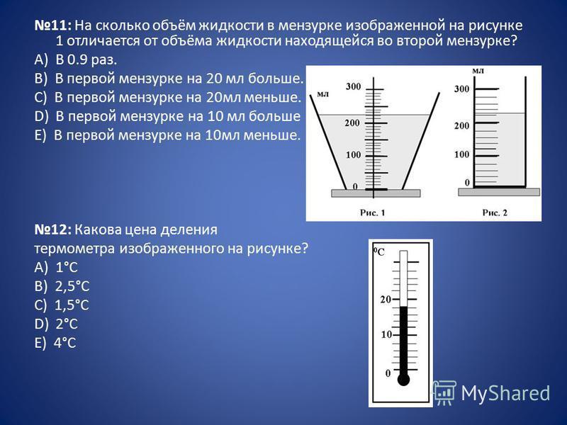 11: На сколько объём жидкости в мензурке изображенной на рисунке 1 отличается от объёма жидкости находящейся во второй мензурке? А) В 0.9 раз. B) В первой мензурке на 20 мл больше. C) В первой мензурке на 20 мл меньше. D) В первой мензурке на 10 мл б