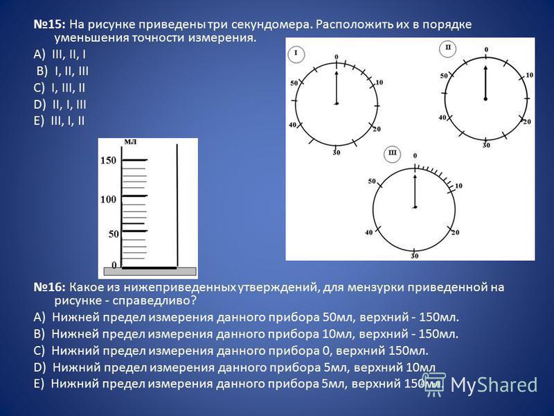 15: На рисунке приведены три секундомера. Расположить их в порядке уменьшения точности измерения. А) III, II, I B) I, II, III C) I, III, II D) II, I, III E) III, I, II 16: Какое из нижеприведенных утверждений, для мензурки приведенной на рисунке - сп