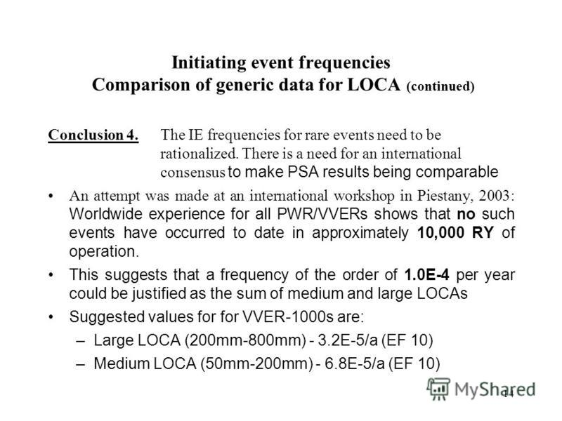 14 Initiating event frequencies Comparison of generic data for LOCA (continued) Conclusion 4. The IE frequencies for rare events need to be rationalized. There is a need for an international consensus to make PSA results being comparable An attempt w