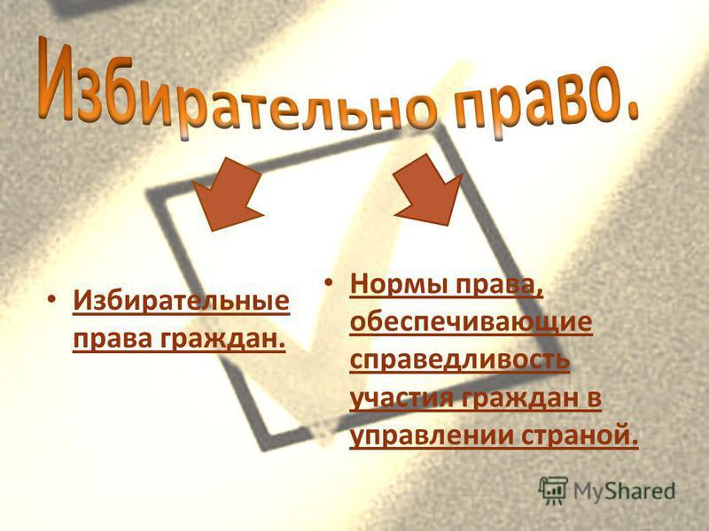Избирательные права граждан. Нормы права, обеспечивающие справедливость участия граждан в управлении страной.