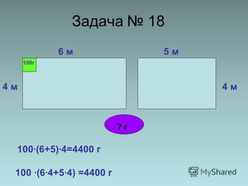 Задача 18 6 м 4 м 5 м 4 м 100 г ? г 100·(6+5)·4=4400 г 100 ·(6·4+5·4) =4400 г