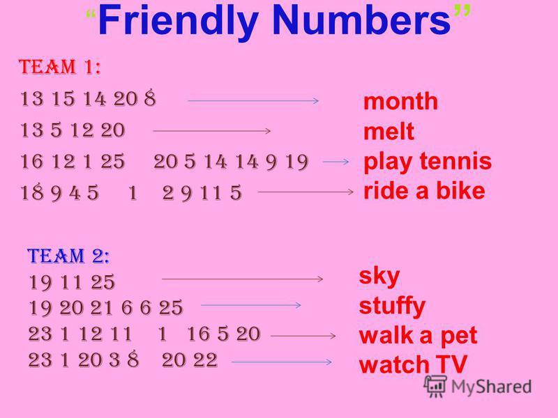 Friendly Numbers Team 1: 13 15 14 20 8 13 5 12 20 16 12 1 25 20 5 14 14 9 19 18 9 4 5 1 2 9 11 5 Team 2: 19 11 25 19 20 21 6 6 25 23 1 12 11 1 16 5 20 23 1 20 3 8 20 22 month melt play tennis ride a bike sky stuffy walk a pet watch TV