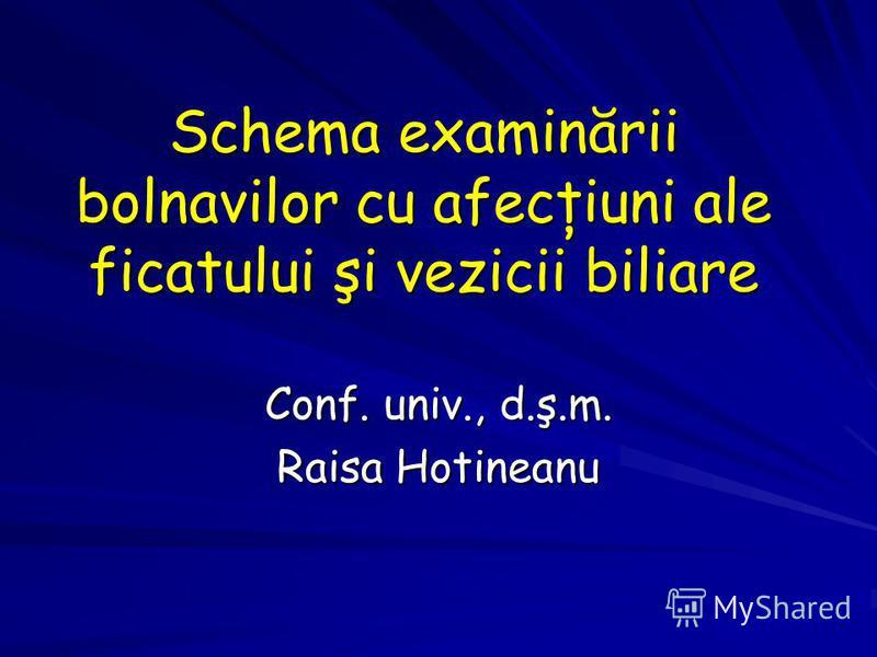Schema examinării bolnavilor cu afecţiuni ale ficatului şi vezicii biliare Conf. univ., d.ş.m. Raisa Hotineanu