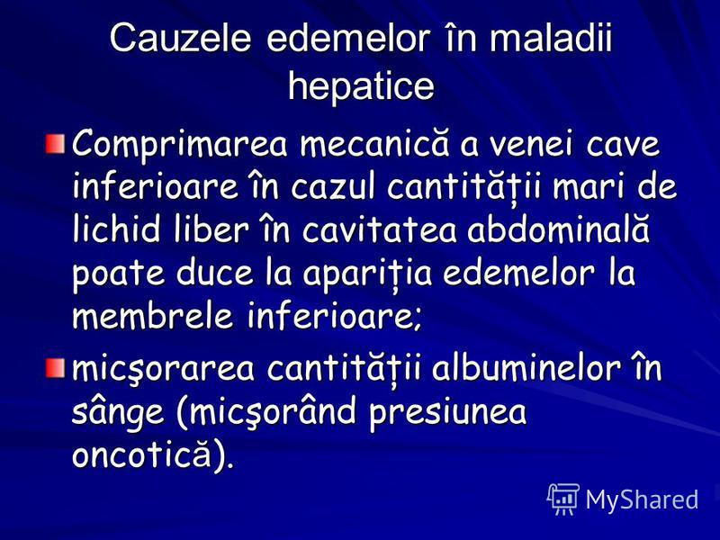 Cauzele edemelor în maladii hepatice Comprimarea mecanică a venei cave inferioare în cazul cantităţii mari de lichid liber în cavitatea abdominală poate duce la apariţia edemelor la membrele inferioare; micşorarea cantităţii albuminelor în sânge (mic