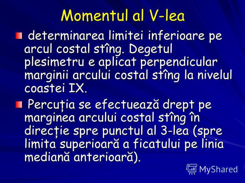 Momentul al V-lea determinarea limitei inferioare pe arcul costal stîng. Degetul plesimetru e aplicat perpendicular marginii arcului costal stîng la nivelul coastei IX. determinarea limitei inferioare pe arcul costal stîng. Degetul plesimetru e aplic