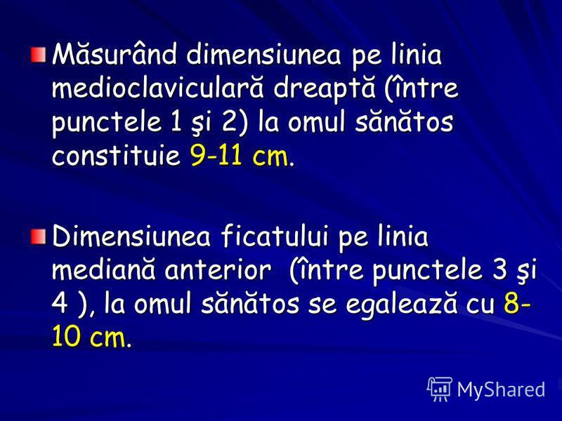 Măsurând dimensiunea pe linia medioclaviculară dreaptă (între punctele 1 şi 2) la omul sănătos constituie 9-11 cm. Dimensiunea ficatului pe linia mediană anterior (între punctele 3 şi 4 ), la omul sănătos se egalează cu 8- 10 cm.