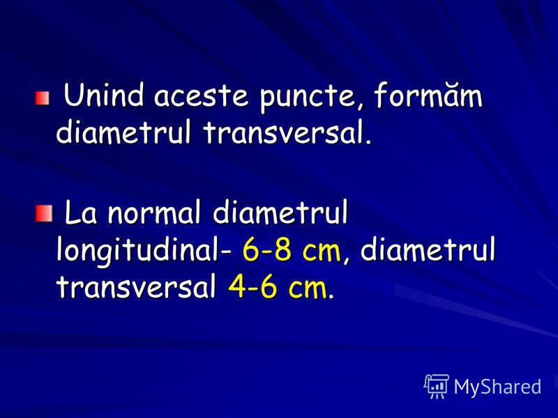 Unind aceste puncte, formăm diametrul transversal. Unind aceste puncte, formăm diametrul transversal. La normal diametrul longitudinal- 6-8 cm, diametrul transversal 4-6 cm. La normal diametrul longitudinal- 6-8 cm, diametrul transversal 4-6 cm.