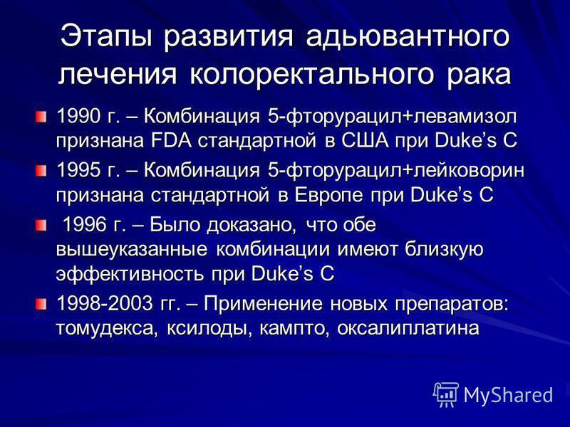 Этапы развития адъювантного лечения колоректального рака 1990 г. – Комбинация 5-фторурацил+левамизол признана FDA стандартной в США при Dukes C 1995 г. – Комбинация 5-фторурацил+лейковорин признана стандартной в Европе при Dukes C 1996 г. – Было дока