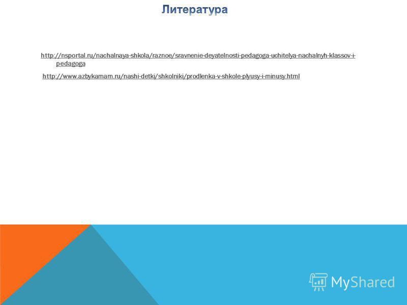 http://nsportal.ru/nachalnaya-shkola/raznoe/sravnenie-deyatelnosti-pedagoga-uchitelya-nachalnyh-klassov-i- pedagoga http://www.azbykamam.ru/nashi-detki/shkolniki/prodlenka-v-shkole-plyusy-i-minusy.html