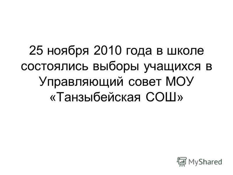 25 ноября 2010 года в школе состоялись выборы учащихся в Управляющий совет МОУ «Танзыбейская СОШ»