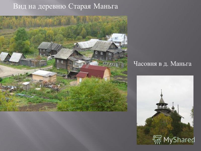 Вид на деревню Cтарая Маньга Часовня в д. Маньга