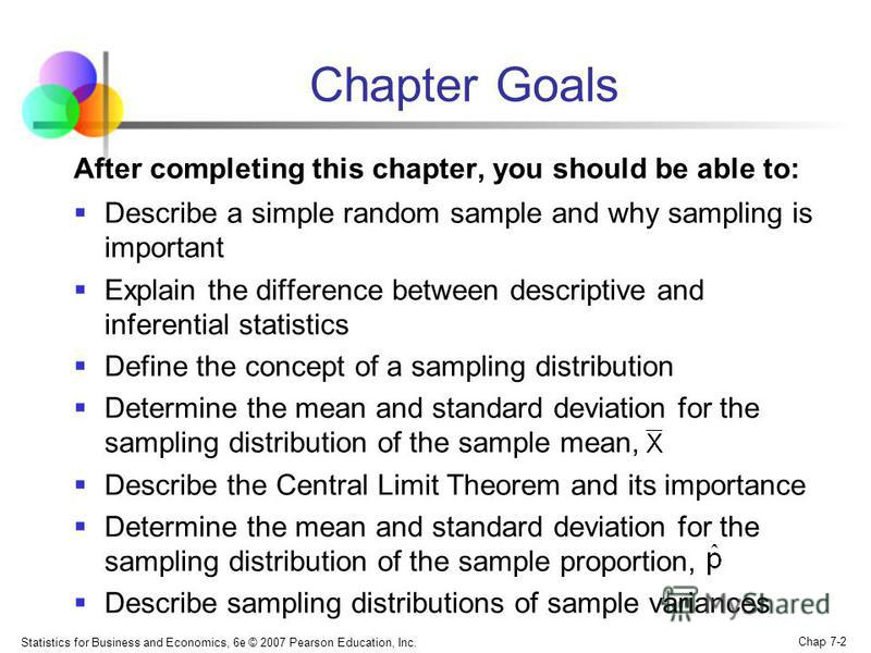 Statistics for Business and Economics, 6e © 2007 Pearson Education, Inc. Chap 7-2 Chapter Goals After completing this chapter, you should be able to: Describe a simple random sample and why sampling is important Explain the difference between descrip