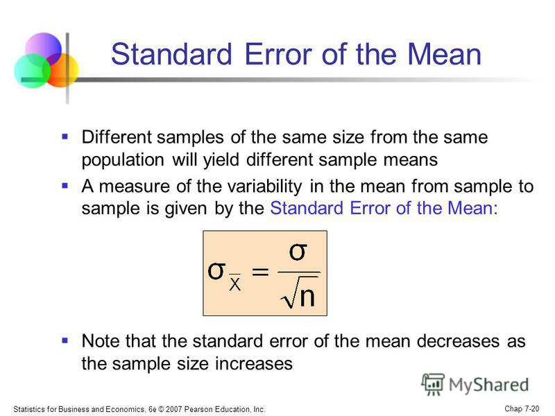 Statistics for Business and Economics, 6e © 2007 Pearson Education, Inc. Chap 7-20 Standard Error of the Mean Different samples of the same size from the same population will yield different sample means A measure of the variability in the mean from