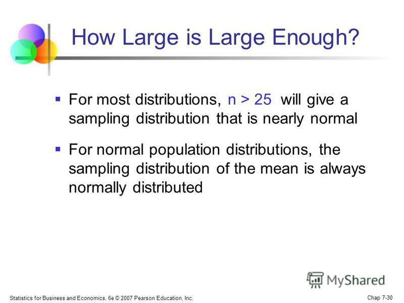 Statistics for Business and Economics, 6e © 2007 Pearson Education, Inc. Chap 7-30 How Large is Large Enough? For most distributions, n > 25 will give a sampling distribution that is nearly normal For normal population distributions, the sampling dis