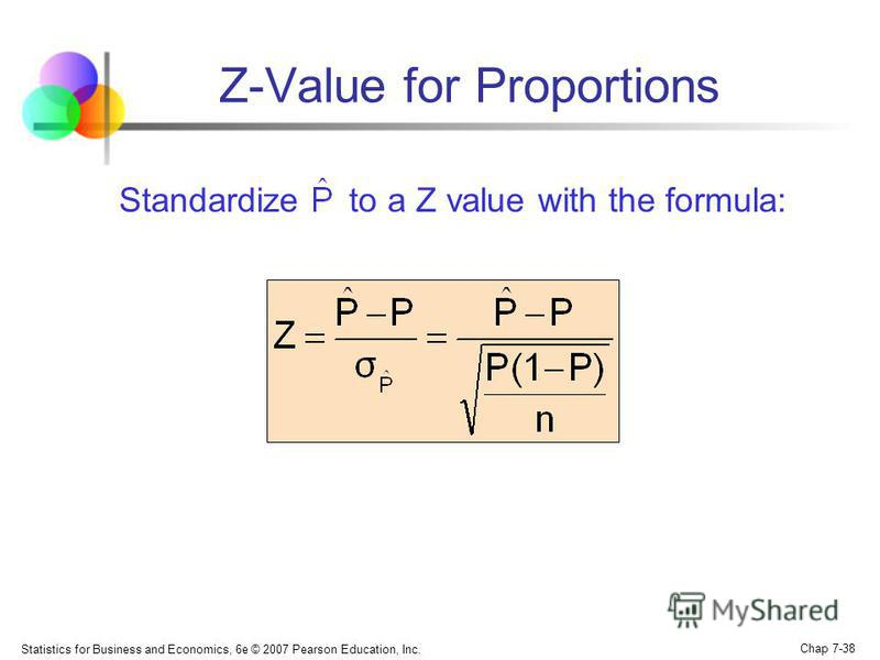 Statistics for Business and Economics, 6e © 2007 Pearson Education, Inc. Chap 7-38 Z-Value for Proportions Standardize to a Z value with the formula: