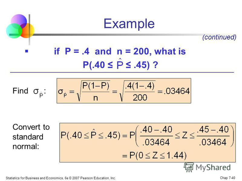 Statistics for Business and Economics, 6e © 2007 Pearson Education, Inc. Chap 7-40 Example if P =.4 and n = 200, what is P(.40.45) ? (continued) Find : Convert to standard normal: