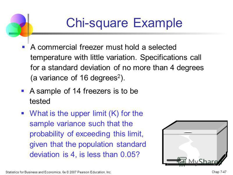 Statistics for Business and Economics, 6e © 2007 Pearson Education, Inc. Chap 7-47 A commercial freezer must hold a selected temperature with little variation. Specifications call for a standard deviation of no more than 4 degrees (a variance of 16 d