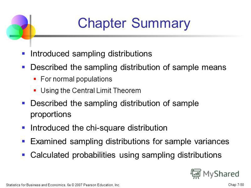 Statistics for Business and Economics, 6e © 2007 Pearson Education, Inc. Chap 7-50 Chapter Summary Introduced sampling distributions Described the sampling distribution of sample means For normal populations Using the Central Limit Theorem Described