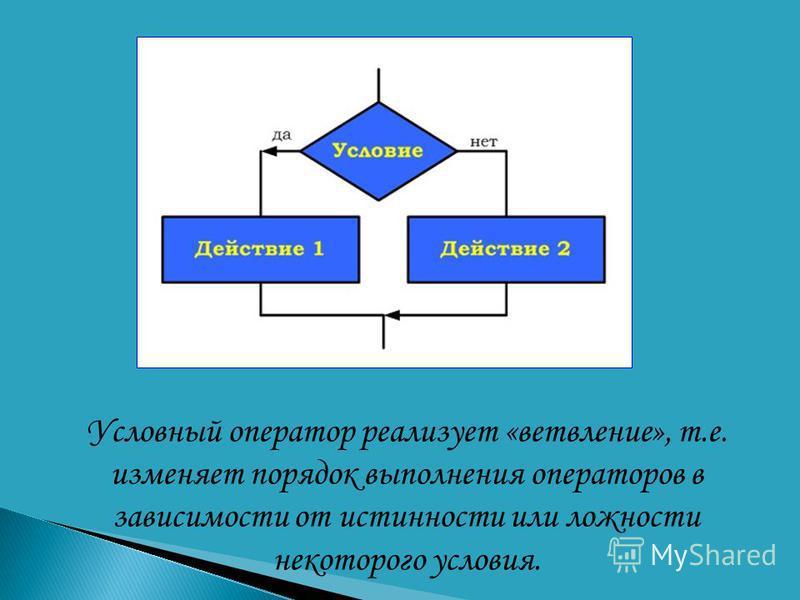 Условный оператор реализует «ветвление», т.е. изменяет порядок выполнения операторов в зависимости от истинности или ложности некоторого условия.