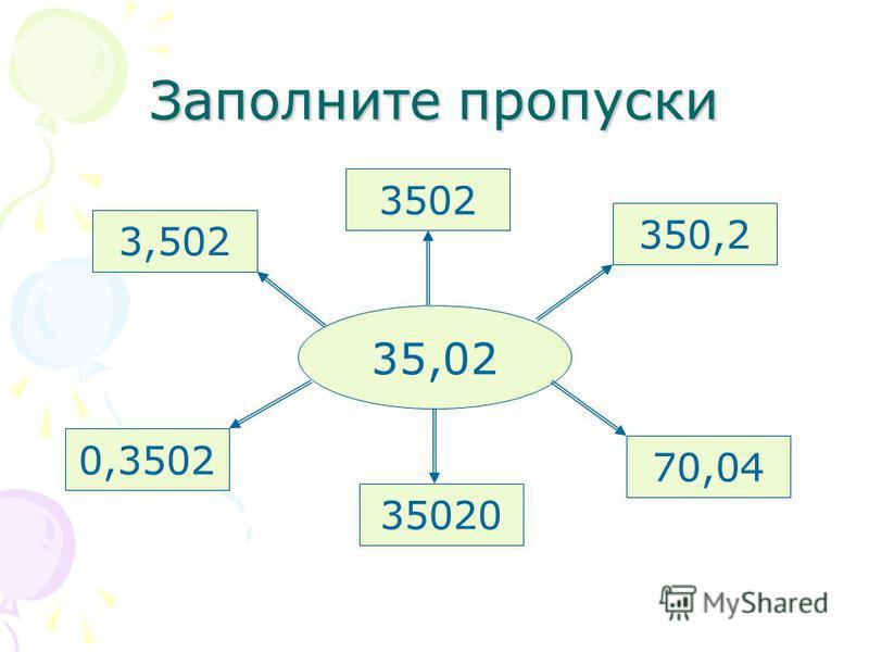 Заполните пропуски 35,02 3502 350,2 70,04 35020 0,3502 3,502