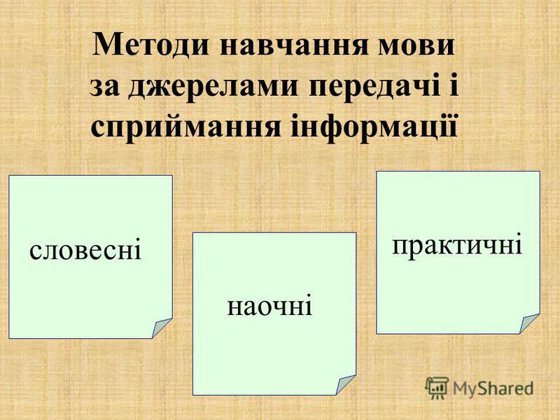 Методи навчання мови за джерелами передачі і сприймання інформації словесні наочні практичні