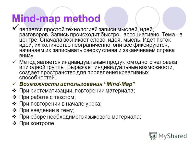 Mind-map method является простой технологией записи мыслей, идей, разговоров. Запись происходит быстро, ассоциативно. Тема - в центре. Сначала возникает слово, идея, мысль. Идёт поток идей, их количество неограниченно, они все фиксируются, начинаем и