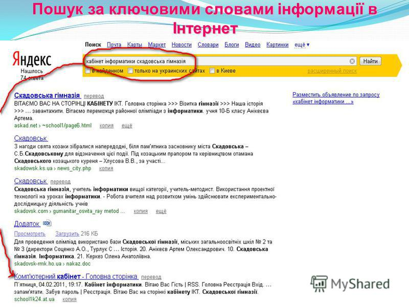 Пошук за ключовими словами інформації в Інтернет