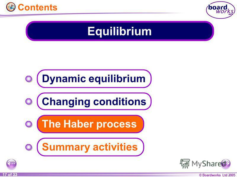 © Boardworks Ltd 2005 17 of 33 Equilibrium Changing conditions The Haber process Summary activities Dynamic equilibrium Contents