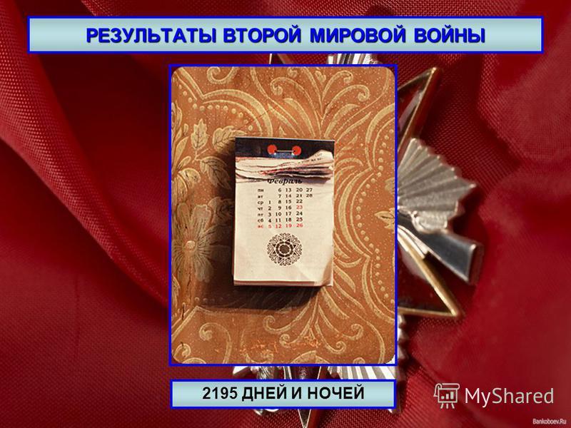 РЕЗУЛЬТАТЫ ВТОРОЙ МИРОВОЙ ВОЙНЫ 2195 ДНЕЙ И НОЧЕЙ