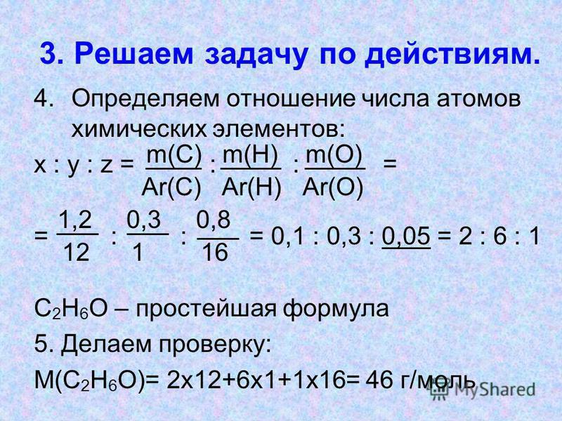 3. Решаем задачу по действиям. 4. Определяем отношение числа атомов химических элементов: х : у : z = : : = = : : = 0,1 : 0,3 : 0,05 = 2 : 6 : 1 С 2 Н 6 О – простейшая формула 5. Делаем проверку: М(С 2 Н 6 О)= 2 х 12+6 х 1+1 х 16= 46 г/моль m(С) m(Н)