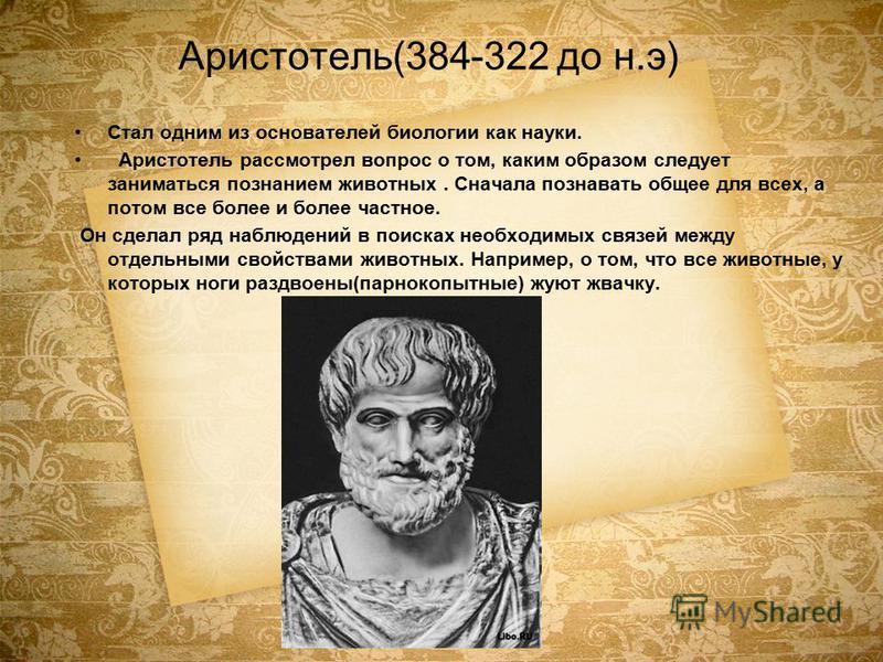 Аристотель(384-322 до н.э) Стал одним из основателей биологии как науки. Аристотель рассмотрел вопрос о том, каким образом следует заниматься познанием животных. Сначала познавать общее для всех, а потом все более и более частное. Он сделал ряд наблю