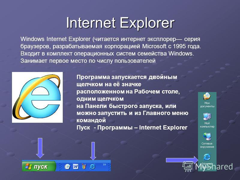 Internet Explorer Windows Internet Explorer (читается интернет эксплорер серия браузеров, разрабатываемая корпорацией Microsoft с 1995 года. Входит в комплект операционных систем семейства Windows. Занимает первое место по числу пользователей Програм