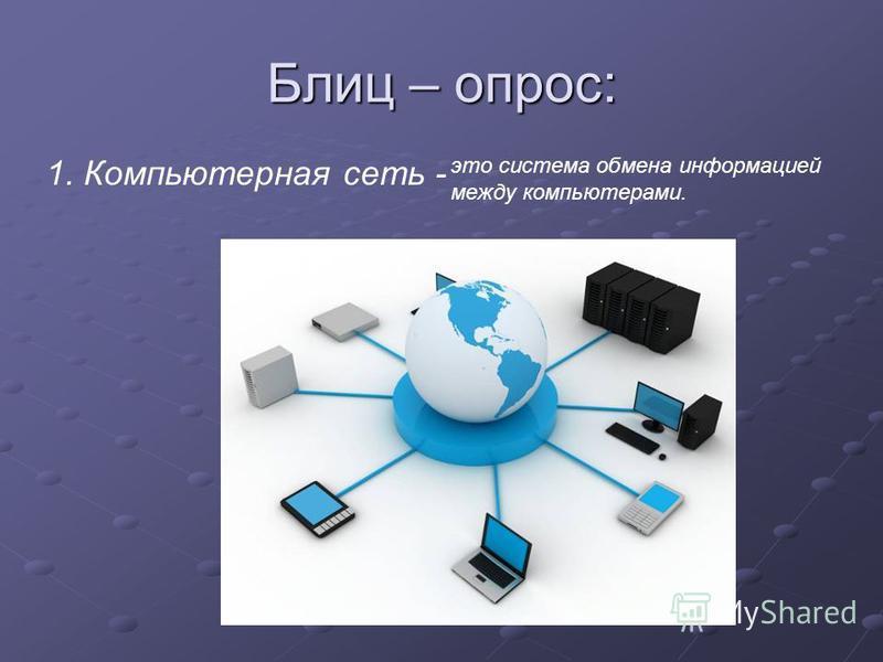 Блиц – опрос: 1. Компьютерная сеть - это система обмена информацией между компьютерами.