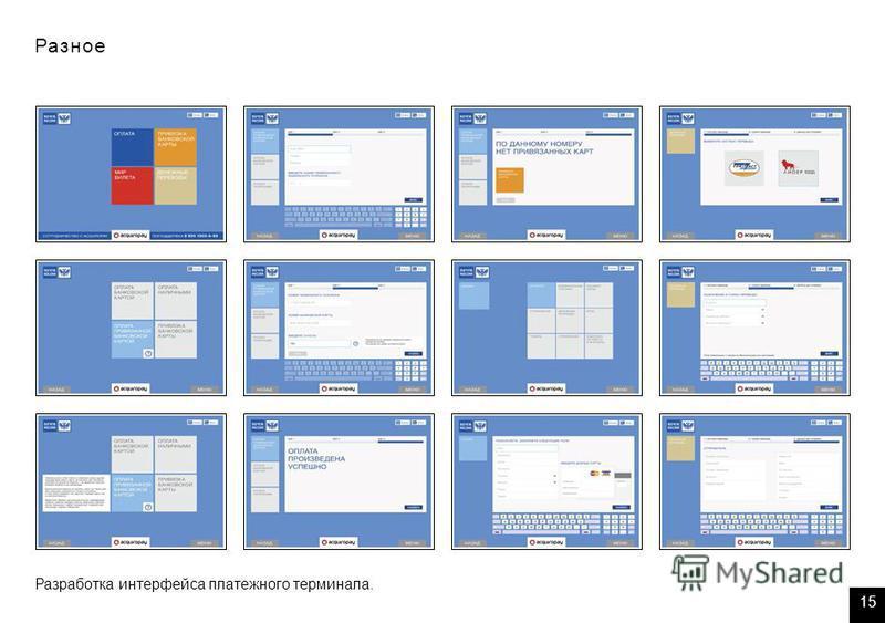 Разное Разработка интерфейса платежного терминала. 15