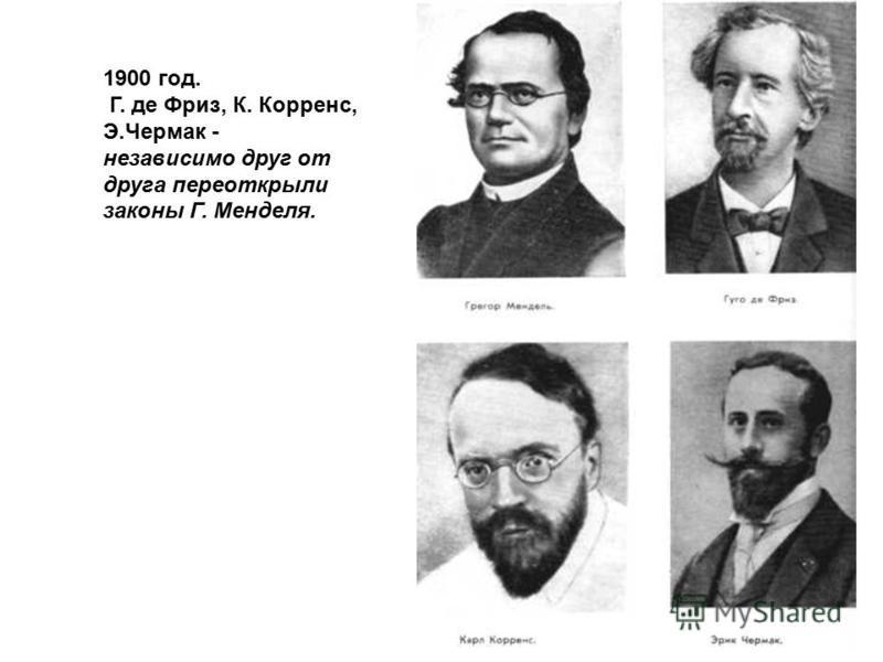 1900 год. Г. де Фриз, К. Корренс, Э.Чермак - независимо друг от друга переоткрыли законы Г. Менделя.