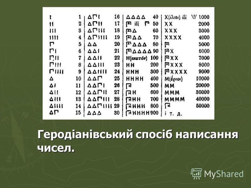 Геродіанівський спосіб написання чисел. Геродіанівський спосіб написання чисел.