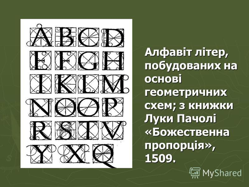 Алфавіт літер, побудованих на основі геометричних схем; з книжки Луки Пачолі «Божественна пропорція», 1509. Алфавіт літер, побудованих на основі геометричних схем; з книжки Луки Пачолі «Божественна пропорція», 1509.