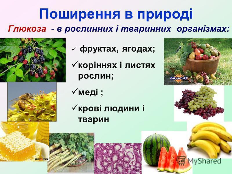 фруктах, ягодах; коріннях і листях рослин; меді ; крові людини і тварин Поширення в природі Глюкоза - в рослинних і тваринних організмах: