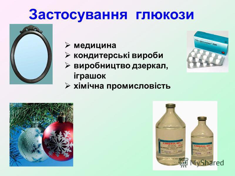 Застосування глюкози медицина кондитерські вироби виробництво дзеркал, іграшок хімічна промисловість