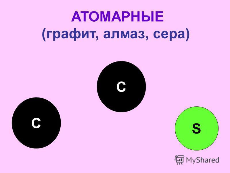 АТОМАРНЫЕ (графит, алмаз, сера) С С S