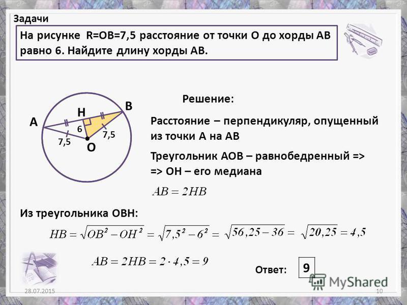 28.07.201510 Задачи На рисунке R=OB=7,5 расстояние от точки О до хорды АВ равно 6. Найдите длину хорды АВ. Решение: Ответ: 9 А В H О 7,5 6 Расстояние – перпендикуляр, опущенный из точки А на АВ Треугольник АОВ – равнобедренный => => ОН – его медиана