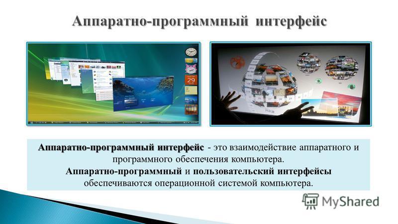 Аппаратно-программный интерфейс Аппаратно-программный интерфейс - это взаимодействие аппаратного и программного обеспечения компьютера. Аппаратно-программный и пользовательский интерфейсы обеспечиваются операционной системой компьютера.