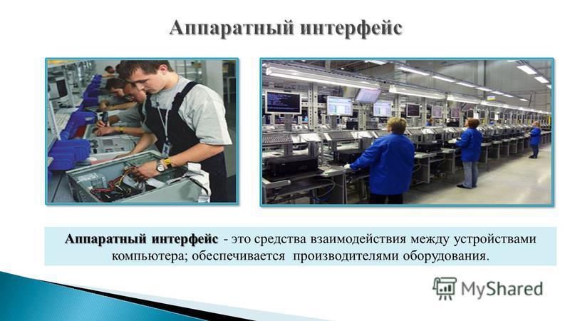 Аппаратный интерфейс Аппаратный интерфейс - это средства взаимодействия между устройствами компьютера; обеспечивается производителями оборудования.