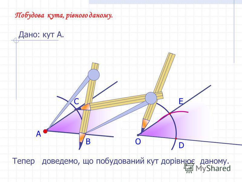 А В С Побудова кута, рівного даному. Дано: кут А. О D E Тепер доведемо, що побудований кут дорівнює даному.