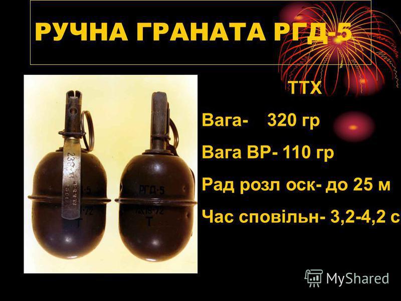РУЧНА ГРАНАТА РГД-5 ТТХ Вага- 320 гр Вага ВР- 110 гр Рад розл оск- до 25 м Час сповільн- 3,2-4,2 с