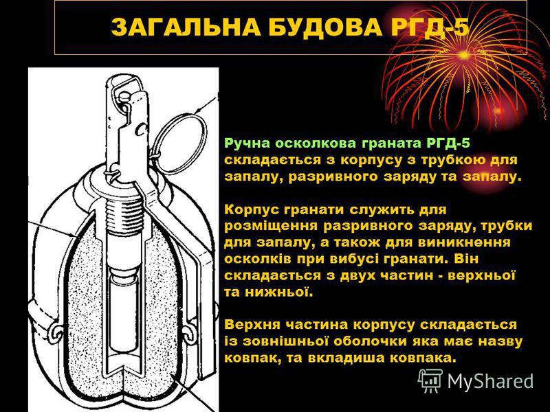 ЗАГАЛЬНА БУДОВА РГД-5 Ручна осколкова граната РГД-5 складається з корпусу з трубкою для запалу, разривного заряду та запалу. Корпус гранати служить для розміщення разривного заряду, трубки для запалу, а також для виникнення осколків при вибусі гранат