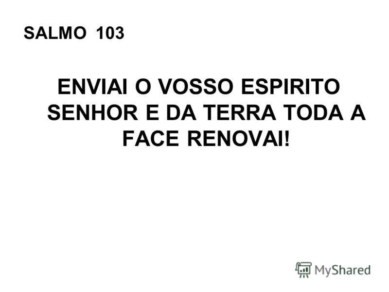 SALMO 103 ENVIAI O VOSSO ESPIRITO SENHOR E DA TERRA TODA A FACE RENOVAI!