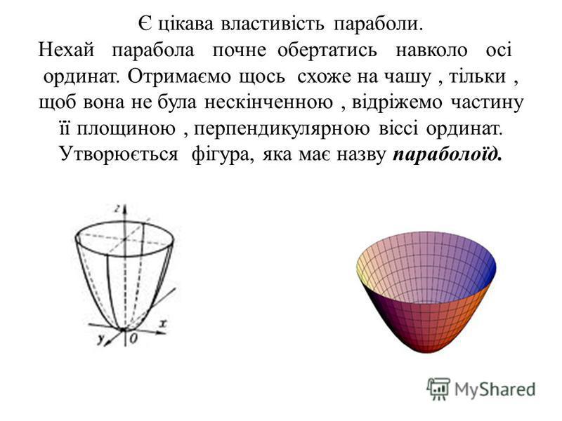 Є цікава властивість параболи. Нехай парабола почне обертатись навколо осі ординат. Отримаємо щось схоже на чашу, тільки, щоб вона не була нескінченною, відріжемо частину її площиною, перпендикулярною віссі ординат. Утворюється фігура, яка має назву