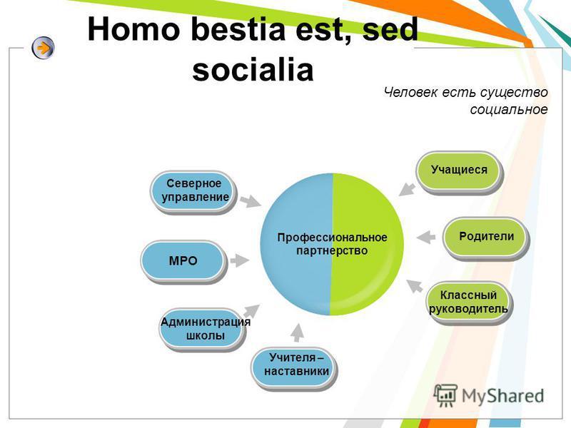 Homo bestia est, sed socialia Профессиональное партнерство Северное управление МРО Администрация школы Учителя – наставники Учащиеся Родители Классный руководитель Человек есть существо социальное